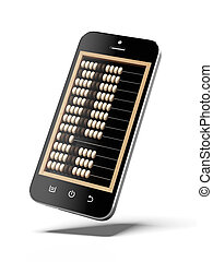 Abacus in smart phone isolated on a white background. 3d...