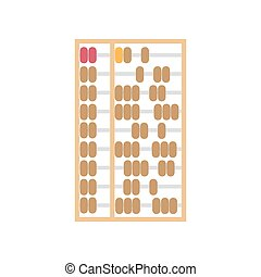 Abacus vector Chinese background illustration. Calculator isolated object wooden antique