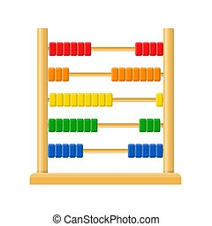 Abacus with rainbow colored beads isolated on white background. Calculating mathematical frame for education arithmetic. Vector illustration
