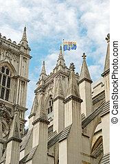 abadía de westminster, primer plano, con, bandera