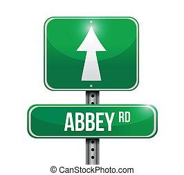 abadía, diseño, camino, ilustración, señal