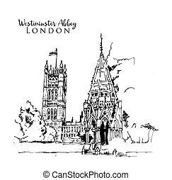 abadía, ilustración, bosquejo, dibujo, westminster