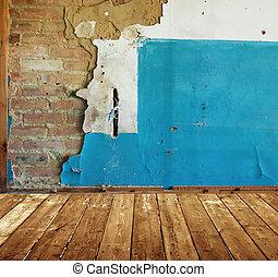 abaddoned, gammal, rum, målat vägg, tegelsten