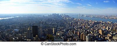 abaixar, aéreo, sobre, panorâmico, york, novo, manhattan, vista