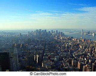 abaixar, aéreo, sobre, york, novo, manhattan, vista