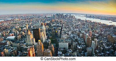 abaixar, sobre, panorâmico,  York, Novo,  Manhattan, vista