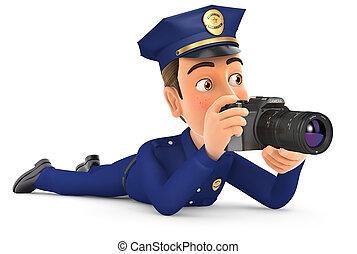 abajo, 3d, cámara, acostado, policía