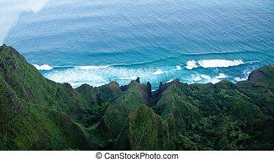 abajo, aéreo, na, pali, litoral, kauai, vista