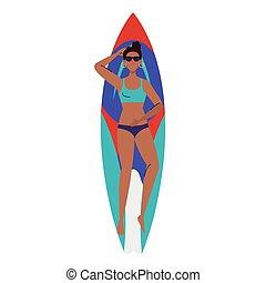 abajo, afro, tabla de surf, acostado, mujer, vacaciones, ...
