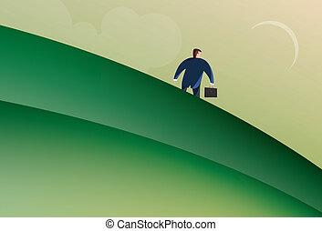abajo, ambulante, colina, hombre de negocios