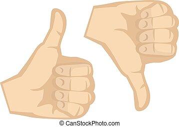 abajo, arriba, ilustración, mano, gestos, vector, pulgares