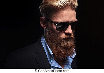 abajo, barbudo, miradas, hombre de negocios