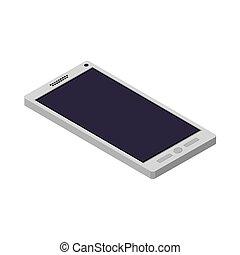 abajo, botones, smartphone, tecnología, acostado