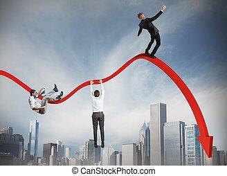 abajo, caer, hombres de negocios