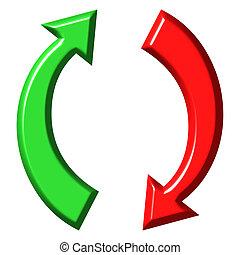 abajo, circular, flechas, arriba, 3d