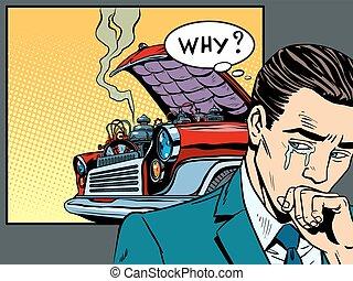 abajo, coche, se estropeó, llora, hombre