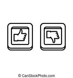 abajo, cuadrado, arriba, botones, pulgares, icono