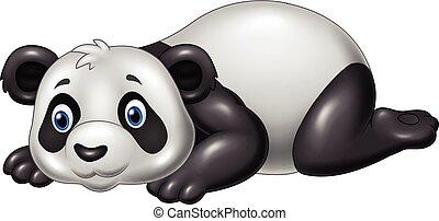 abajo, divertido, caricatura, acostado, panda