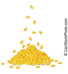 abajo, dorado, goteante, coins, pila