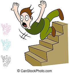 abajo, escaleras, caer, vuelo, hombre