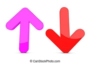 abajo, flecha arriba, señal