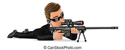 abajo, francotirador, 3d, agente, rifle, seguridad, acostado