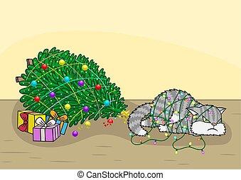 abajo, golpeado, navidad, gato, árbol.