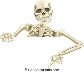 abajo, halloween, esqueleto, señalar
