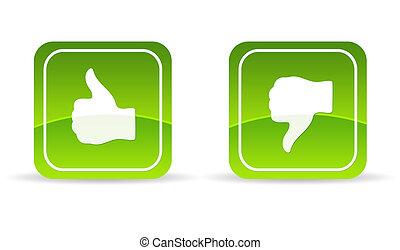 abajo, icono, verde, arriba, pulgares