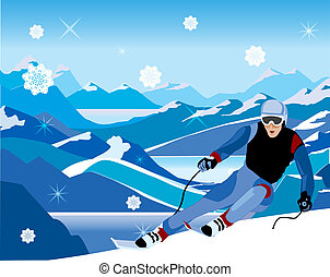 abajo, inclinar, colina, esquiador