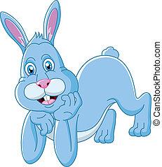 abajo, lindo, conejo, caricatura, acostado