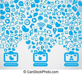 abajo, medios, computadoras, contenido, yendo