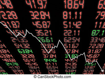 abajo, mercado, acción