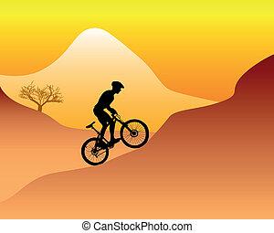 abajo, motociclista de montaña, colina, equitación