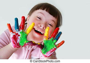 abajo, niña, pintado, lindo, poco, síndrome, hands.