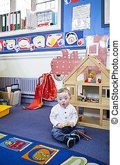 abajo síndrome, niño, en, guardería infantil