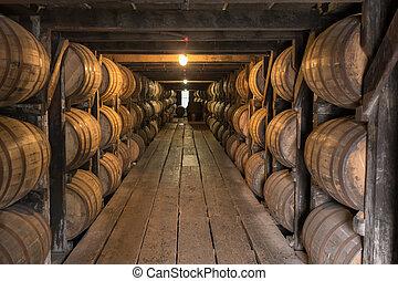 abajo, sendero, mirar, almacén, whisky americano, envejecimiento