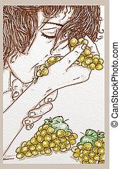 abajo, sensual, uvas, mujer, mordeduras, acostado