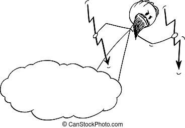 abajo, vector, cielo, o, dios, bastidor, enojado, lanzamiento, caricatura, relámpagos, nube