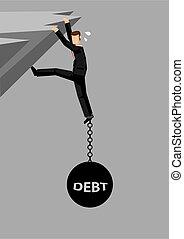 abajo, vector, ilustración, pesar, deuda, caricatura