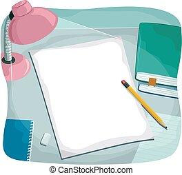 abajur escrivaninha, papel