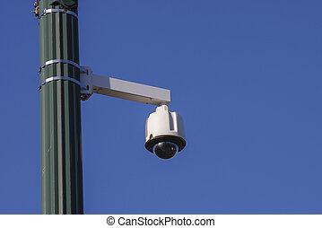 abajur rua, câmera, canto, poste, segurança