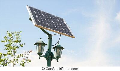 abajures rua, com, solar, baterias