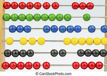 Abakus mit bunten Perlen, Symbolfoto für Kalkulation,...