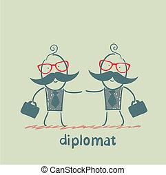 abanar, diplomatas, mãos