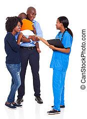 abanar, enfermeira, mão, paciente, africano