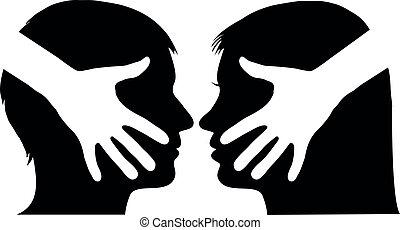 abanar, mulher homem, mão, entre
