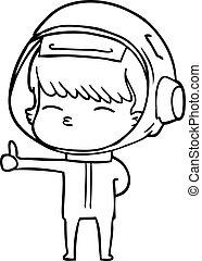 abandon, astronaute, pouces, curieux, dessin animé