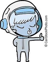 abandon, astronaute, pouces, jolie fille, dessin animé