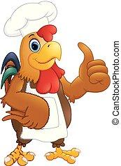 abandon, chef cuistot, pouces, poulet, dessin animé